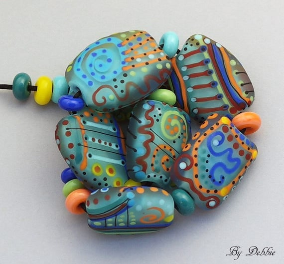 Beads, Lampwork Beads, Glass Beads, Artisan Debbie Sanders, Organic Beads,  Jewelry Supplies, SRA Lampwork Beads, Colorful Beads, Art Deco