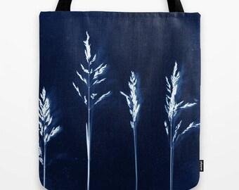 minimalist modern indigo blue and white fabric tote bag- market tote-artist designed market bag-cute fabric tote bag-nature and floral tote