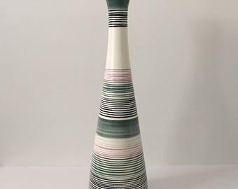 Royal Haeger Vase Tall 20 Inch Statement Piece Mid Century Ceramic Art Stripe Vase Pink Green and Black STUNNING