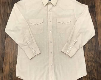 Vintage 1990s 90s Roper Western Workwear Beige on Beige Horseshoe Print Pearl Snap Button Up Shirt Mens Size M/L