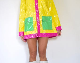 Vintage 80s 90s Color Blocked PVC Hooded Raincoat (size xs, small)
