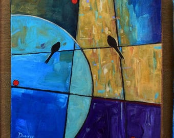 Original Abstract Painting, Contemporary Art, Daily Painting, Birds, FREE Shipping, Acrylic Painting, Bird on a Wire, Birds on a Wire, Art