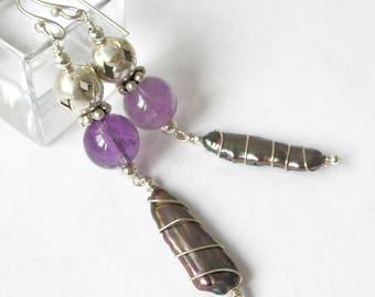 Amethyst Earrings Rainbow Pearl Sterling Silver Boho Jewelry Metaphysical Healing Stones February Birthstone