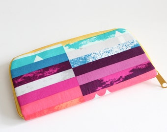 Womens zip around wallet / Checkbook Cell Phone Passport Credit Card Wallet / Accordian wallet / Mod Stripe blocks
