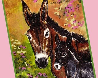 Donkey Jennet & Foal Clematis Horse Art Equine Art Donkey Art Horse Print Horse ACEO Donkey Lover Donkey Gift Horse Lover Horse Gift