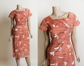 Vintage 1960s Dress - Georgiana Muted Orange Artsy Print Wiggle Dress with Button Detail Front - Back Kick Pleat Skirt - Small