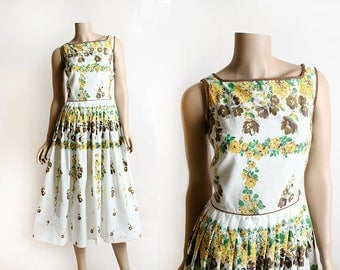 Vintage 1950s Floral Dress - Border Print Yellow Flower Print Cotton Day Dress - Light Brown and Lime Green White - Pleat Skirt - Small