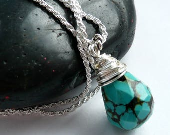 Sterling Silver Wire Wrapped Turquoise Teardrop Nugget Pendant Necklace Southwestern Western Style Turquoise Necklace Turquoise Silver Gift