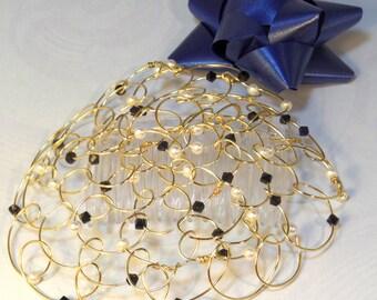 "Swarovski Crystal Kippah - Chapel Cap - Womens Kippot - Headcovering - Gold Wire and Black Swarovski Crystals 4.5"""
