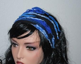 Hippie Boho Headband - Blue Holographic Clothing - Dreadlock Headband Gypsy Hair Wrap