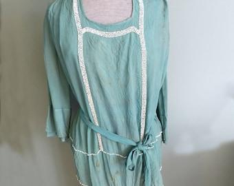 Antique Edwardian Titanic Era Silk Crepe Beaded Embellished Blouse Green Fragile Condition