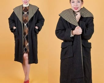 GORGEOUS Vintage 50s Gray Wool Check Print Oversized Swing Coat M/L/XL