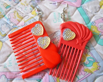 Hair comb doll earrings, orange kawaii jewelry barbie fashion 80s fairy kei drag queen hairdresser gift hair stylist gifts under 20