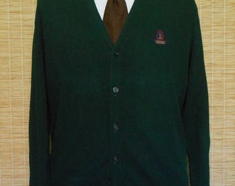 Vintage 90s Grandpa Golf Cardigan, 1990s Mens Forest Green Sweater w Crest Logo by Izod, Size L to XL