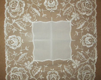 Antique French Lace Handkerchief with lovely Rose Design Around Edges Brides White circa: 1800's