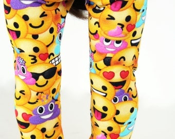Fits like American Girl Doll Clothes - Emoji Baseball Tee and Leggings in Yellow