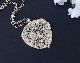 Silver Aspen Silver Leaf Necklace, Real Leaf Necklace, Aspen Leaf, Sterling Silver Leaf Necklace, LC96