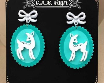 READY MADE SALE - Doe-Eyed Deer Earrings - White & Turquoise Acrylic Laser Cut Earrings (C.A.B. Fayre Original Design)