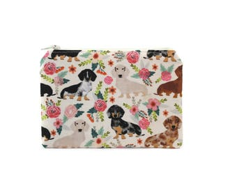 CHOOSE SIZE Doxies in the Garden Zipper Pouch / Dachshund Gift / Camera Bag on Cream / Make Up or Coin Pouch