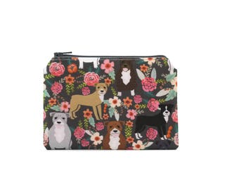 CHOOSE SIZE Pitbulls in the Garden Zipper Pouch / Pitbull Gift / American Staffordshire Terrier Camera Bag/ Pit Bull Make Up or Coin Pouch