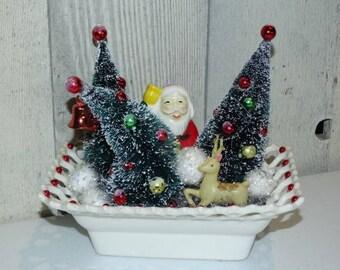 Vintage Inspired Bottle Brush, Santa, Reindeer Collection, Mid Century Modern Christmas Design, Holiday Decorations, Pottery Planter