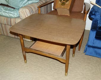 Vintage Mid Century Modern Formica Top Wood End Tables, Rattan Base, Modernism, Atomic Fine Lines, (2) Sofa End Tables, Danish Style Tables