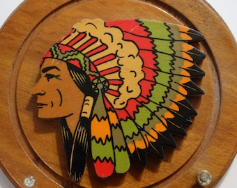 1950's Wooden Wall Plaque, Hershey PA, Native American, Tourist Souvenir American Indian, War Bonnet, Feathers, Colorful Mid Century, Trivet