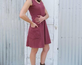 Sleeveless Hemp Pocket Dress -  Ethically Made by Yana Dee in the USA from Hemp & Organic Cotton Jersey - Custom Made, Choose your Color