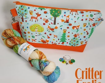 PREORDER Critter Frolic KIt - Project Bag, Yarn, and Stitch Marker Set - Kit collaboration w/ TeenyButtton Studio & WhimzeeStitches Designs