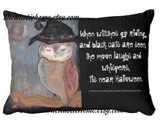 Halloween pillow owl full moon halloween poem pillow toss pillow custom Halloween decor owls witch witches when black cats are seen artwork