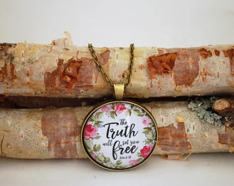 The Truth will set you free, Large Bronze or Silver Pendant Necklace