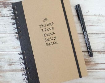 Personalized Journal Gift for Girlfriend Personalized Notebook 99 Things