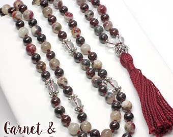 Garnet and Tri-Colored Tourmaline Necklace, Hand Knotted, 108 Bead Mala