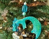 PurrMaid Cat ~ Tortoiseshell Cat ~ Cat Ornament ~ Mercat ~ Nautical Decor ~ Mermaid Ornament ~ Sleeping Purrmaid ~ Cat Lover Gift