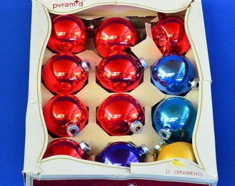 Vintage Pyramid Christmas Ornaments - Mercury Glass Ornaments – Set of 12 in Box - Holiday Decorations - Christmas Decor - Rauch Industries