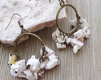 White Shell Bead Earrings, Antique Brass Hoop Earrings, Beaded Hoop Earrings, White Bead Earrings, Boho, Beach, Summer Earrings, Resort