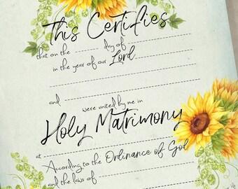 Printable Wedding Certificate Marriage Certificate Instant Download No 27 Vintage Wedding Digital Download DIY Wedding Gift Shower Gift
