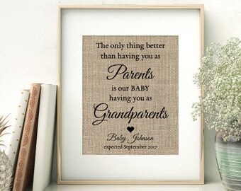 Personalized Gift for Parents | The Only Thing Better Than Having You As My Parents is My Children Having You as Grandparents | Burlap Print