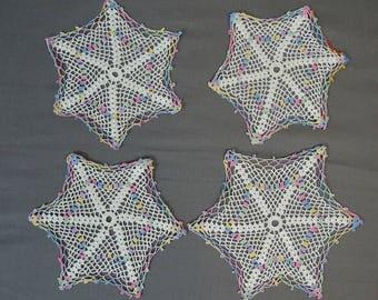 4 Vintage Crochet Doilies, White & Pastel Shades, Hand Made 1940s Set Fine Crochet Doily, Linen