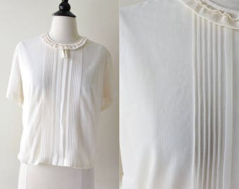 Lovely Lady White Semi Sheer Nylon Blouse | 1950s-60s