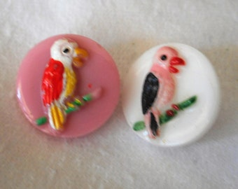 Lot of 2 VINTAGE Painted Bird on Glass BUTTONS