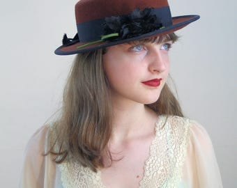 80s Brown Wool Hat with Black Flower, Vintage Brown Hat, Flat Brim Hat, Retro Hat, Women's Autumn Hat, Wool Felt Hat, Steampunk Wool Boater