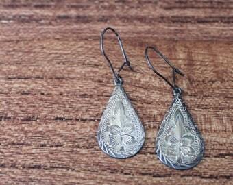 Vintage Mexico Sterling VOGT Earrings, Vintage Sterling Earrings, Mexico Silver Earrings, VOGT Earrings, Etched Silver Earrings,VOGT Jewelry