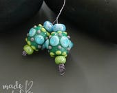 Handmade lampwork beads  | earring pair  |  DOTS on TEAL  l SRA   l  glass set   l   made by Silke Buechler