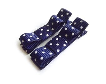 Navy Blue Hair Clips Navy Hair Clips Navy Bows Blue Bows Polka Dot Hair Clips Tuxedo Bow Hair Clips Baby Girl Hair Clips Baby Clips Baby Bow