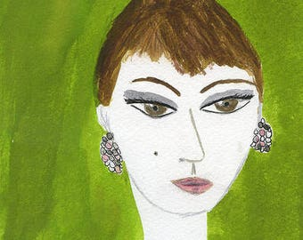 Gina.  Limited edition print of an original painting by Vivienne Strauss.