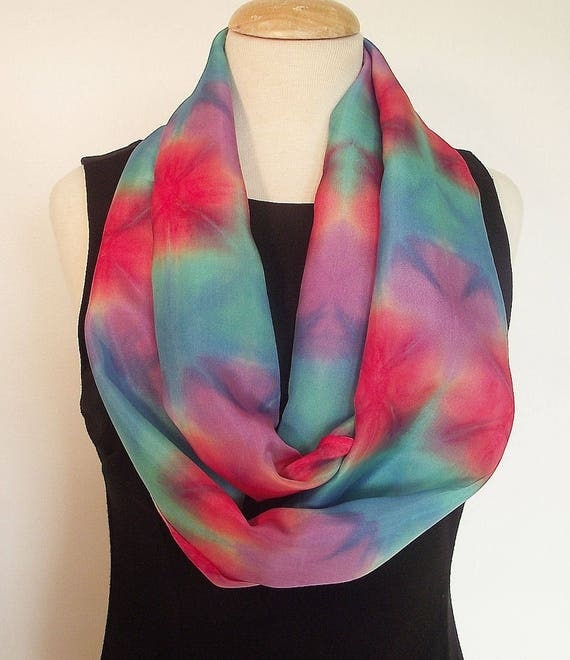 "Hand Dyed Silk Infinity Scarf - 11 x 76"", Coral, Turquoise, Teal and Lavender - Itajime, Fold Dyed Silk"