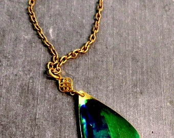 Blue Green and Brass pendant necklace, Vintage brass pendant, alcohol ink pendant