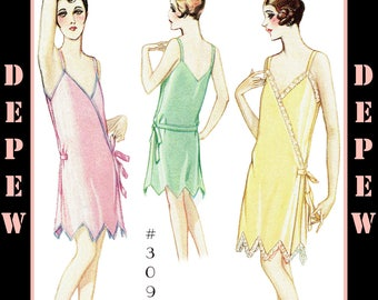 Vintage Sewing Pattern Ladies' 1920s Step-in Chemise & Slip Depew #3090 -INSTANT DOWNLOAD PDF