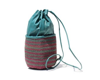 Turquoise Leather/Multi Color Jute Straw Drawstring Sling Shoulder Bag